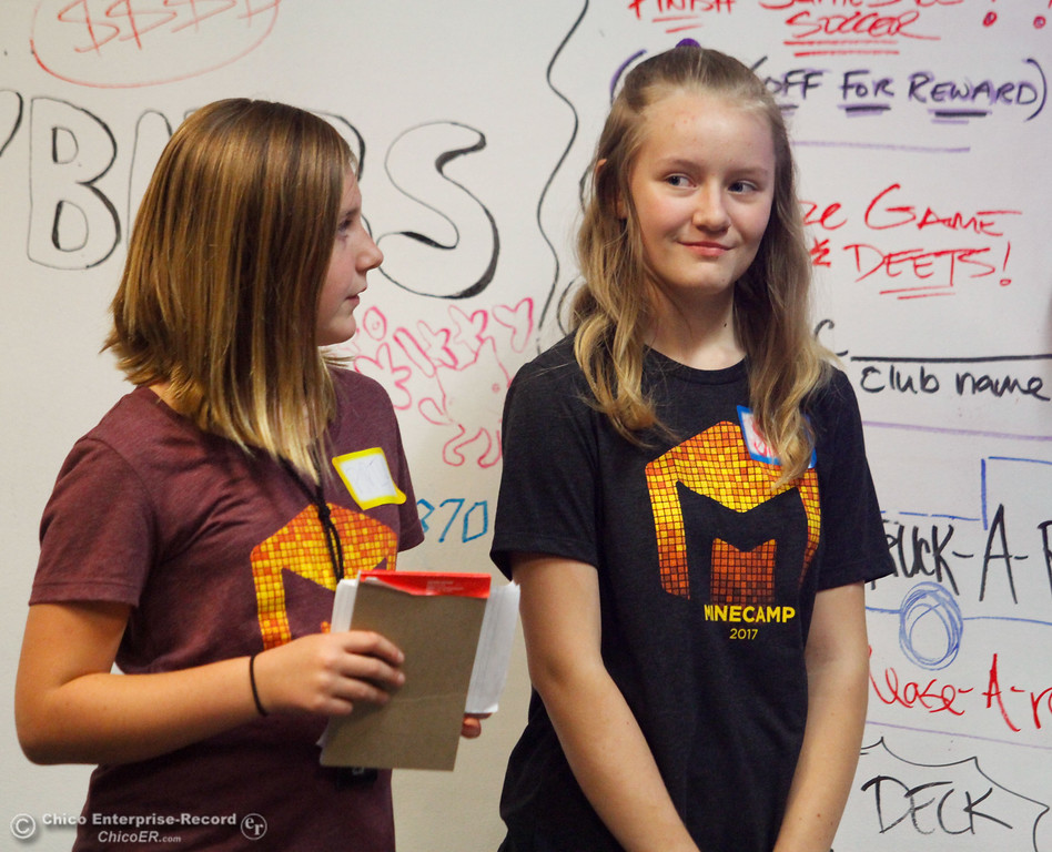 . Teen girls will be face a Sharks-like panel to promote their video games after a week of computer coding camp Friday July 21, 2017 in Chico, California. The teams had five minutes to convince the judges they have the programming skills and business IQ to succeed.  (Emily Bertolino -- Enterprise-Record)