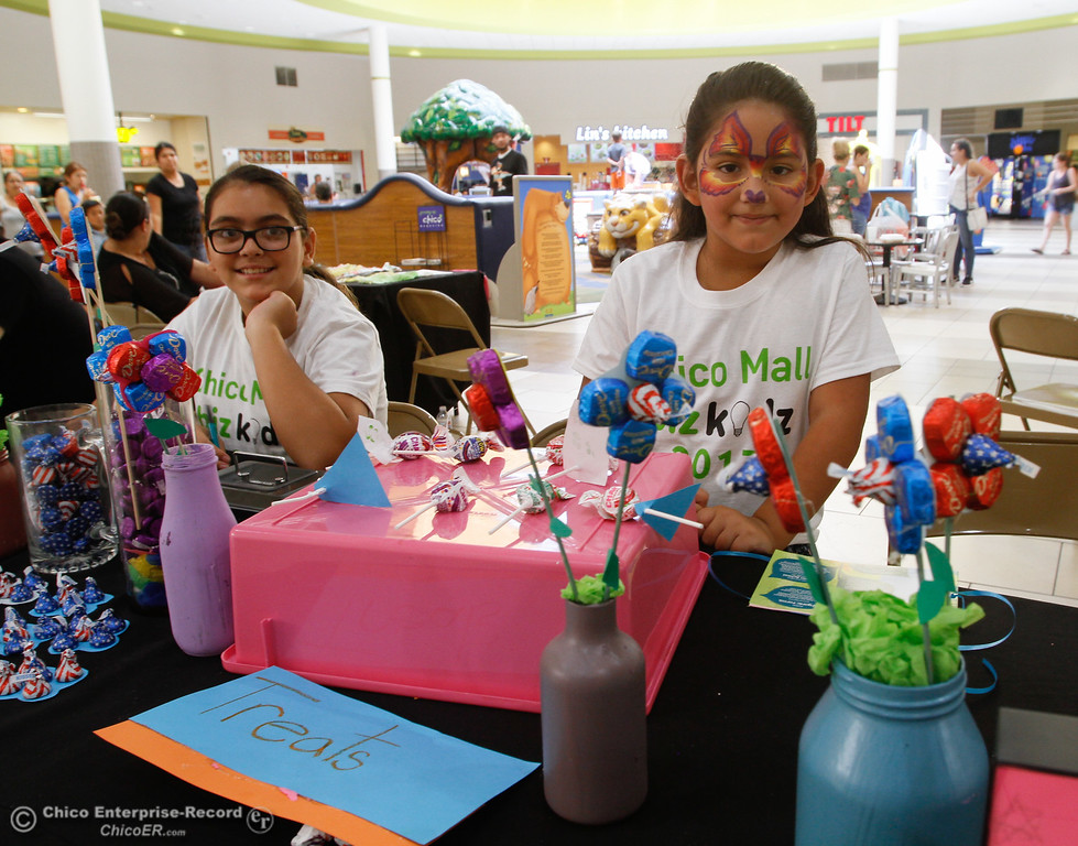 . Sophia Magana, 7, creator of Sophia\'s Treats stands at her candy booth during the Biz Kids showcase Saturday July 29, 2017 at the Chico Mall in Chico, California. (Emily Bertolino -- Enterprise- Record)