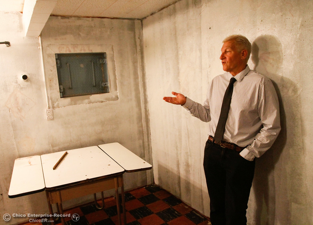 . Arthur Wellersdick talks about an alternative exit where a person would have to dig themselves out of the 1960s era bomb shelter if the other door was blocked Thursday July 27, 2017 in Chico, California. (Emily Bertolino -- Enterprise-Record)
