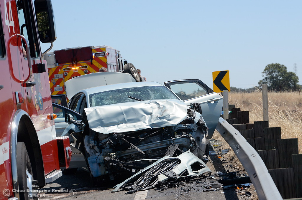. Eastbound Skyway was completely closed for a time following a two vehicle rollover collision below Spanish Garden Drive involving a Ford Focus and a Ford Fusion Thursday July 27, 2017. (Bill Husa -- Enterprise-Record)