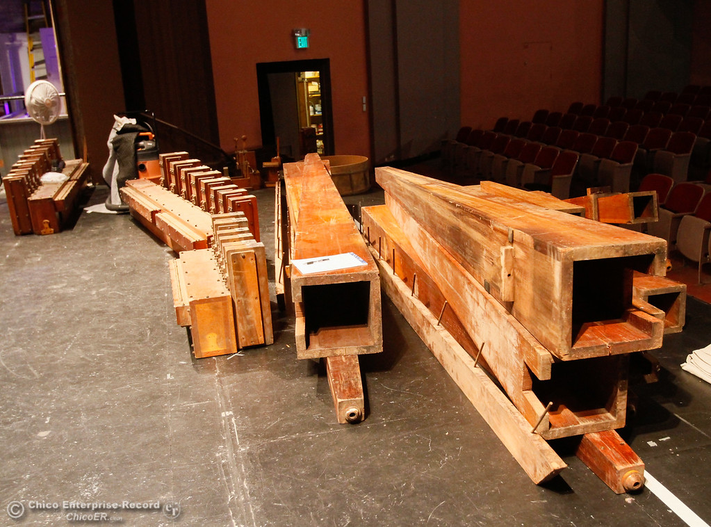 . The parts of a two-chamber Wurlitzer pipe organ that is being reinstalled into the State Theatre as part of a project to restore the theatre Saturday July 29, 2017 in Oroville, California. (Emily Bertolino -- Enterprise- Record)