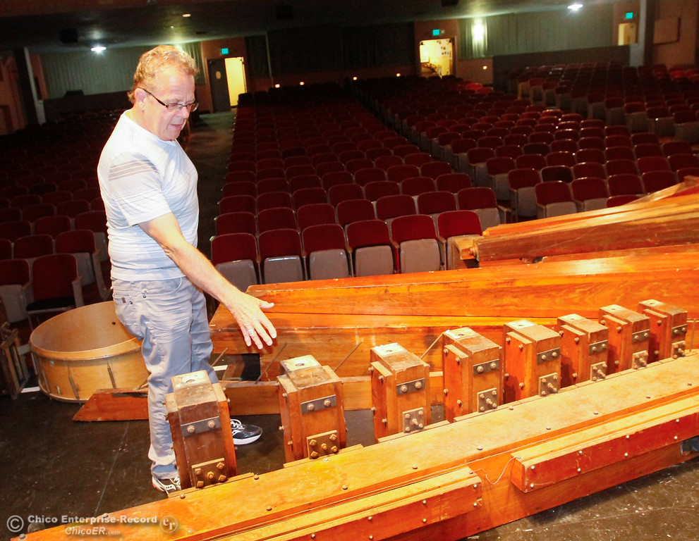 . State Theatre Art Guild president Jim Moll talks about the effort to restore the Oroville State Theatre to its original 1928 grandeur and the reinstallation of the Mighty Wurlitzer Theater Organ Saturday July 29, 2017 at the State Theatre in Oroville, California. (Emily Bertolino -- Enterprise- Record)