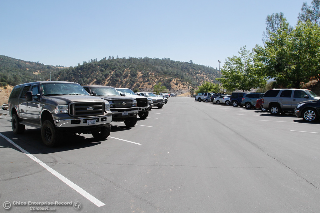 . A full parking lot at Lime Saddle Marina and visitors say it\'s just going to get more full as the day goes on Saturday July 29, 2017 in Paradise, California. (Emily Bertolino -- Enterprise- Record)