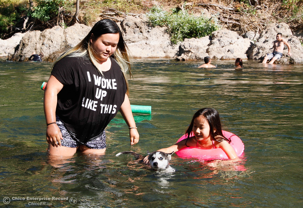 . Kaochi Xiong and Sheng-Yee Xiong, 7, watch over Nova the puppy as the group swims in Butte Creek under the Honey Run Covered Bridge Tuesday July 25, 2017 in Chico, California. (Emily Bertolino -- Enterprise-Record)