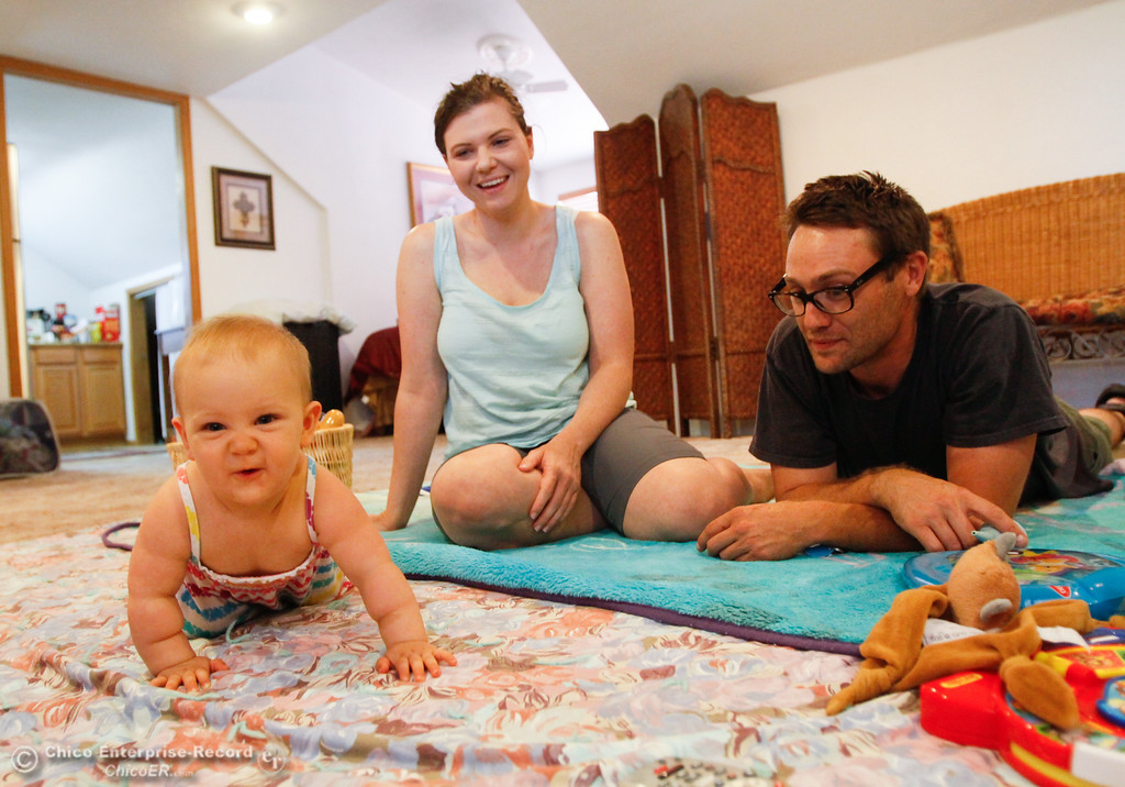 . Husband & wife Cody Richardson, Jennifer Davis and baby Pearl\'s home was destroyed during the Wall Fire are planning on moving to Sacramento Wednesday July 26, 2017 in Chico, California. (Emily Bertolino -- Enterprise-Record)