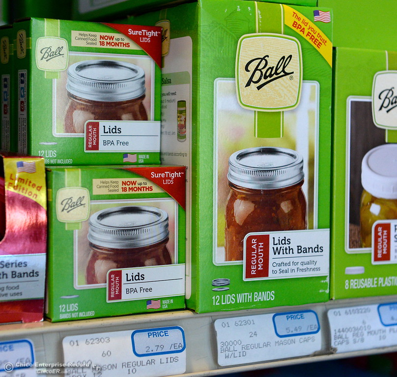 . Lids for canning jars are seen among canning supplies available at Collier Hardware in Chico, Calif. Tues. Aug. 8, 2017. (Bill Husa -- Enterprise-Record)