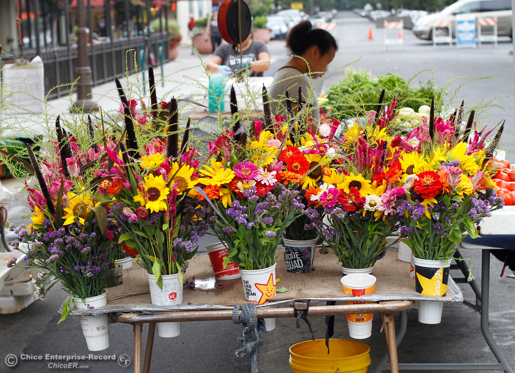 . Fresh flower arrangements at the Thursday Night Farmers Market August 10, 2017  in Chico, California. (Emily Bertolino -- Enterprise- Record)