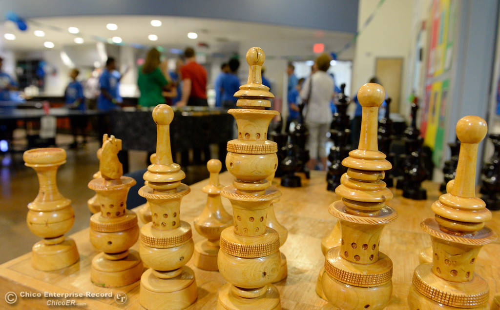 . A chess set sits alone in a corner as Boys & Girls Club members get a chance to try out some of the new equipment and games after they received a $20,000 grant from Anthem Blue Cross for items at the Boys & Girls Club in Chico, Calif. Tues. Aug. 8, 2017. (Bill Husa -- Enterprise-Record)