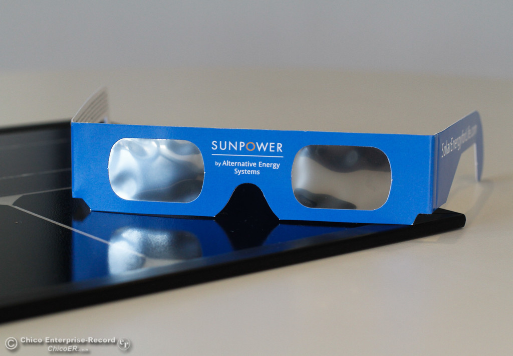 . SunPower by Alternative Energy Systems is giving out free safety solar glasses for the eclipse Saturday August 12, 2017 in Chico, California. (Emily Bertolino -- Enterprise- Record)