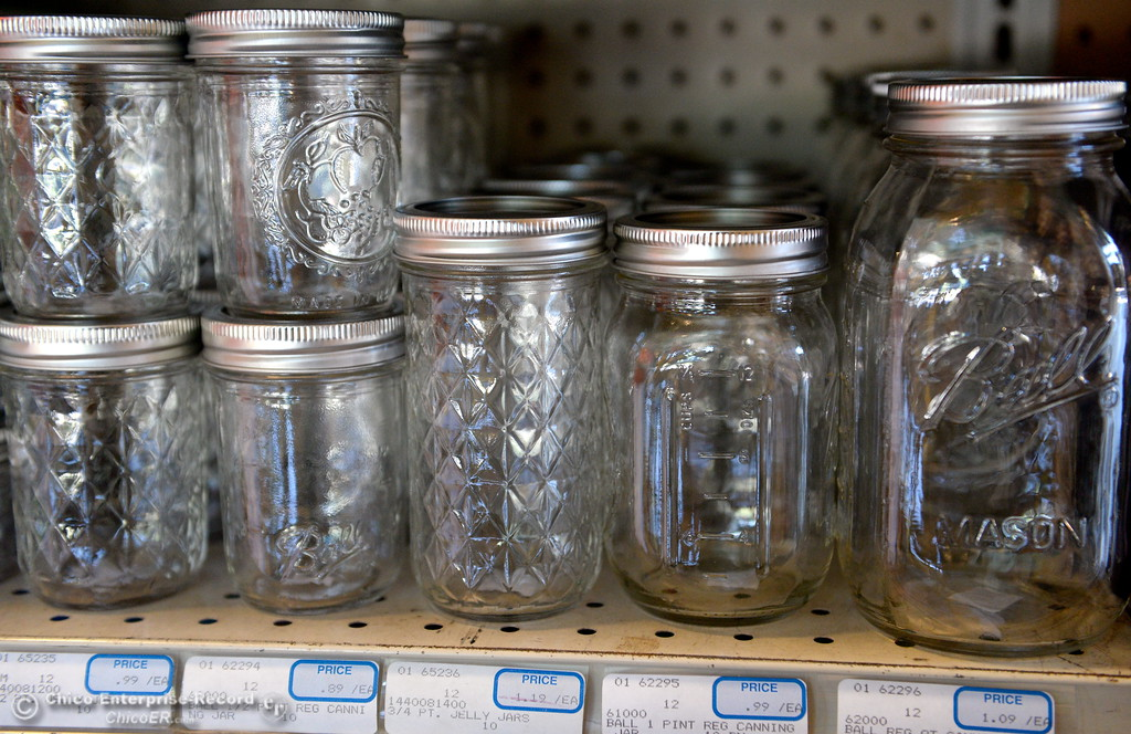 . Individual canning jars are for sale among canning supplies available at Collier Hardware in Chico, Calif. Tues. Aug. 8, 2017. (Bill Husa -- Enterprise-Record)