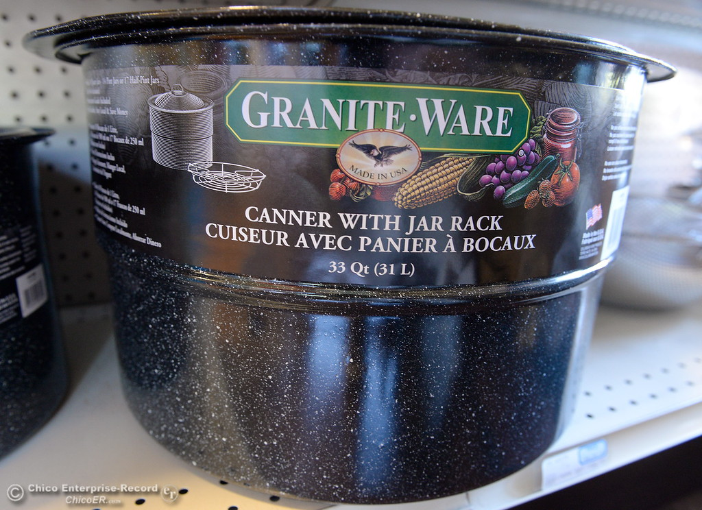 . A Granite Ware canner with jar rack is seen among canning supplies available at Collier Hardware in Chico, Calif. Tues. Aug. 8, 2017. (Bill Husa -- Enterprise-Record)