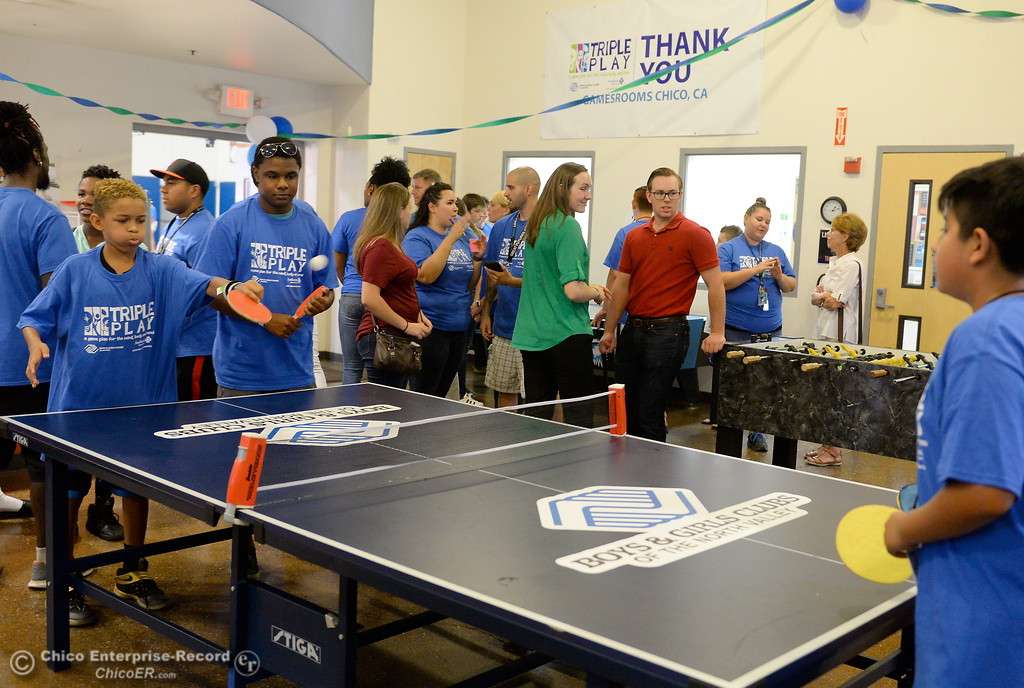 . Boys & Girls Club members get a chance to try out some of the new equipment and games in the teen room after they received a $20,000 grant from Anthem Blue Cross for items at the Boys & Girls Club in Chico, Calif. Tues. Aug. 8, 2017. (Bill Husa -- Enterprise-Record)