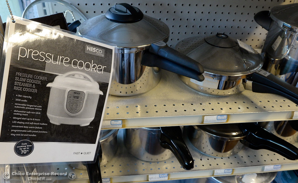 . Pressure cookers can be found for sale near the canning supplies at Collier Hardware in Chico, Calif. Tues. Aug. 8, 2017. (Bill Husa -- Enterprise-Record)