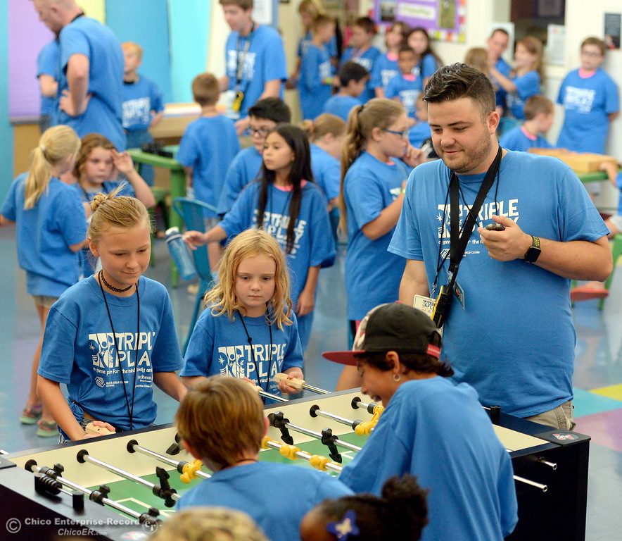 . Boys & Girls Club members get a chance to try out some of the new equipment and games after they received a $20,000 grant from Anthem Blue Cross for items at the Boys & Girls Club in Chico, Calif. Tues. Aug. 8, 2017. (Bill Husa -- Enterprise-Record)
