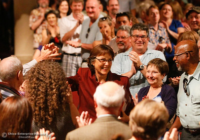 New Chico State President Gayle Hutchinson enter the annual teacher convocation to a standing ovation August 18, 2016 at Chico State in Chico, Calif. (Emily Bertolino -- Enterprise-Record)