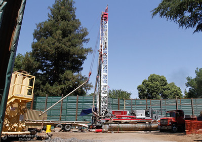 Roadrunner Drilling and Pumping Co. work to drill a new municipal water well on a plot at East Fifth and Olive streets for Cal Water  August 18, 2016 at Chico State in Chico, Calif. The new Cal Water municipal well will end up being about 550-650 feet deep and hopefully pump 800-1,000 gallons per minute. (Emily Bertolino -- Enterprise-Record)