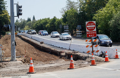 Gravel and dirt has been removed at the Highway 99 N off ramp at Highway 32 as road work continues August 16, 2016 in Chico, Calif. (Emily Bertolino -- Enterprise-Record)