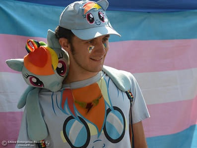 "Cody Mahler talks about how the show ""My Little Pony"" helped him through difficult times in his life during Stonewall Alliance's Chico Pride 2016 event Saturday, Aug. 20, 2016, at City Plaza in Chico, California. (Dan Reidel -- Enterprise-Record)"