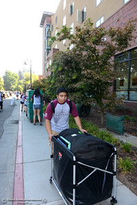 Student volunteer Jard Samonte helps Chico State students who live in university housing move in to the dorms Thursday, Aug. 17, 2016, at the campus in Chico, California. (Dan Reidel -- Enterprise-Record)
