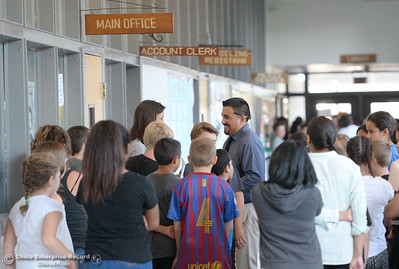 Chico Junior High School Principal Pedro Caldera smiles as he mingles with sixth graders during their first day of school Thurs. Aug. 18, 2016. (Bill Husa -- Enterprise-Record)
