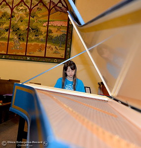 Erika Matson of Chico plays the harpsichord while musicians from across the north state take part in the Chico Summer Music Academy directed by Robert Bowman at the Bidwell Presbyterian Church in Chico, Calif. Friday July 13, 2018.  (Bill Husa -- Enterprise-Record)