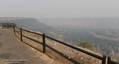 The other side of Butte Creek Canyon is barely visible through the smoke seen from Lookout Point on Skyway between Paradise and Chico, Calif. Monday, July 30, 2018. (Bill Husa -- Enterprise-Record)