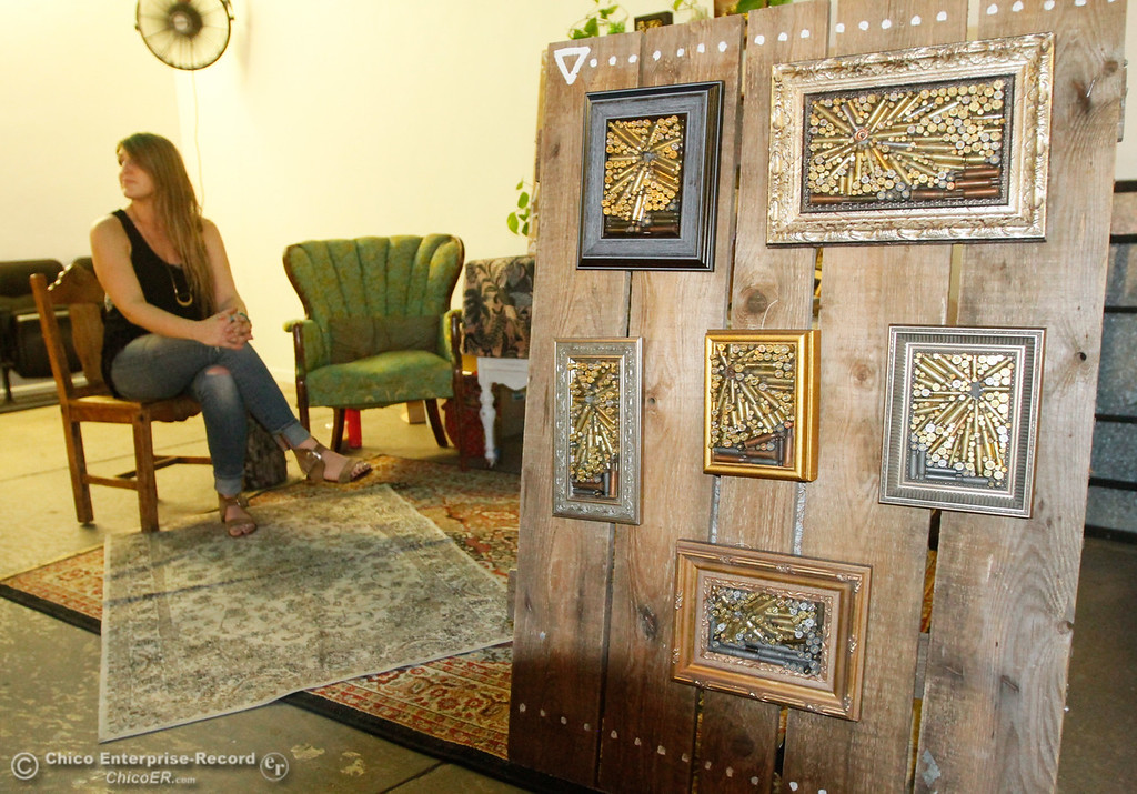 . Bullet landscapes by Sylvana Owen, (pictured left) at the 4th annual Maker Show Case Saturday August 5, 2017 at Idea Fab Labs in Chico, California. Owen uses found items and recycled bullet shells to create her artwork. (Emily Bertolino -- Enterprise- Record)