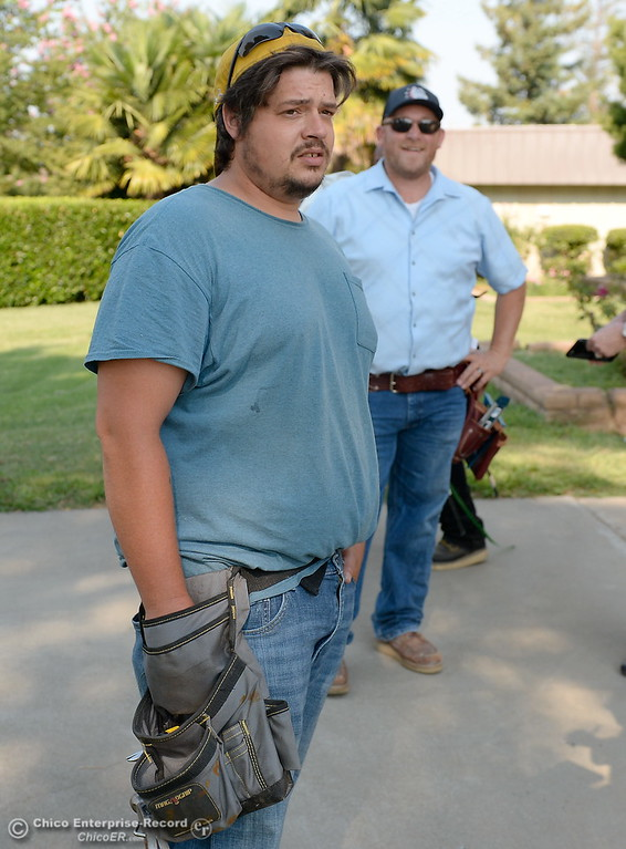 . Josh Wheeler talks about the program while during the BCOE Construction Bootcamp with Instructor Jack Rodgers, in backround, at the Silver Dollar Fairgrounds in Chico, Calif. Thurs. Aug. 3 2017. (Bill Husa -- Enterprise-Record)
