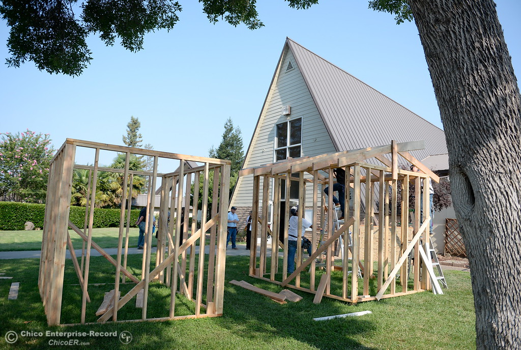 . Two sheds in the process of getting built during the BCOE Construction Bootcamp with Instructor Jack Rodgers at the Silver Dollar Fairgrounds in Chico, Calif. Thurs. Aug. 3 2017. (Bill Husa -- Enterprise-Record)