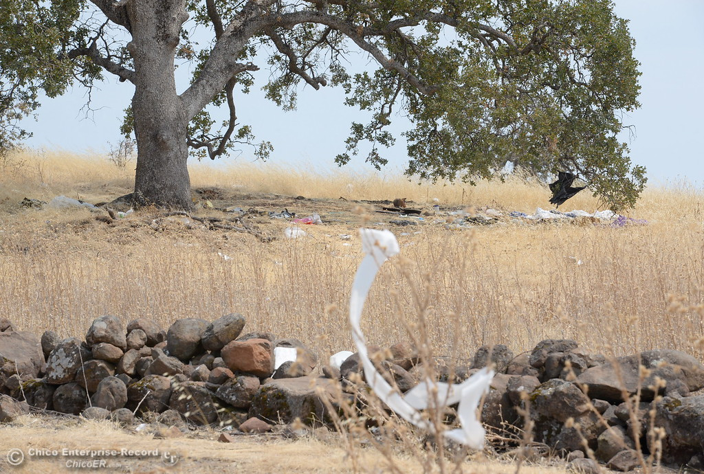 . Humboldt Road, which runs parallel to Hwy. 32 and an old rock wall is quickly beginning to look more like a public dump. Trash hangs from trees and grass seen near the rock wall along the littered road just outside of Chico, Calif. Fri. Aug. 4, 2017. (Bill Husa -- Enterprise-Record)