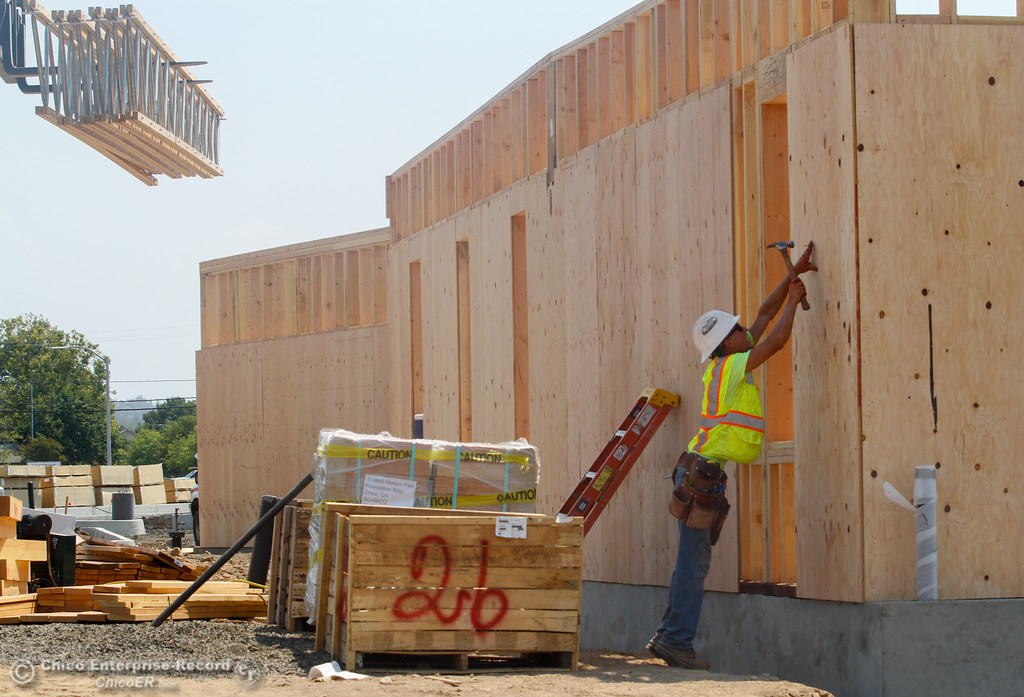 . Work is progressing on the Foundation building office space, south of the courthouse as part of the Meriam Park project  Tuesday August 1, 2017 along Bruce Road in Chico, California. (Emily Bertolino -- Enterprise- Record)