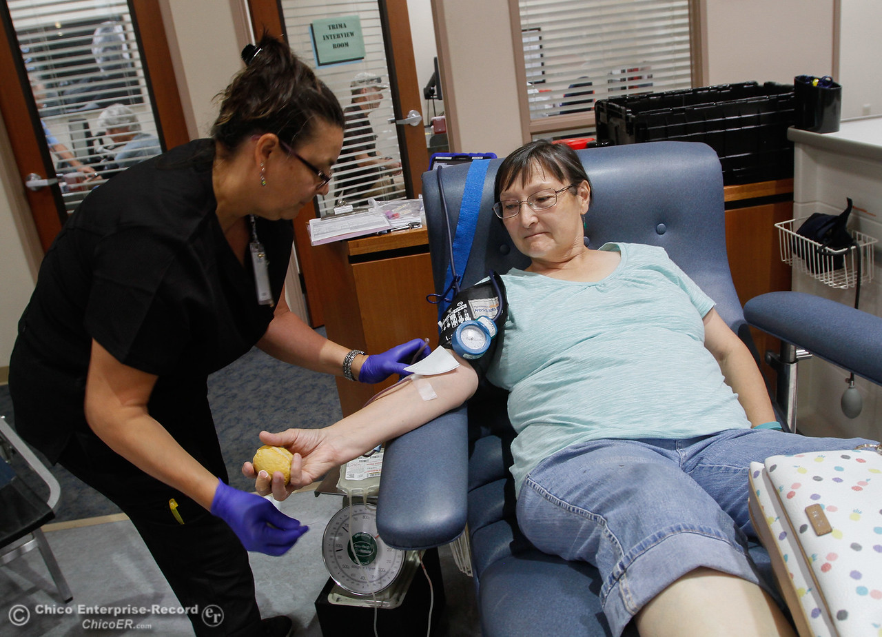 """Phlebotomists Susan Anselmi starts the process of drawing blood from Dianna Boehn during 16th Annual Summer Classic Blood Drive August 4, 2017 at BloodSource along Rio Lindo Avenue in Chico, California. Boehn started giving blood after her husband pasted away from cancer, """"you don't really think about it (giving blood) until it affects your friend or family,"""" so this is her way of giving back. She says it's pretty easy but suggests to look away when the needle comes out. (Emily Bertolino -- Enterprise- Record)"""