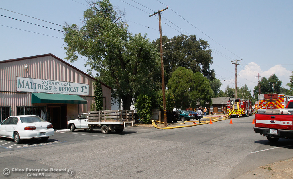 . Everyone appeared to have made it out after a fire in the wood shop of Square Deal Mattress Factory & Upholstery started around 1:30 p.m. Tuesday August 1, 2017 along Humboldt Avenue in Chico, California. (Emily Bertolino -- Enterprise- Record)
