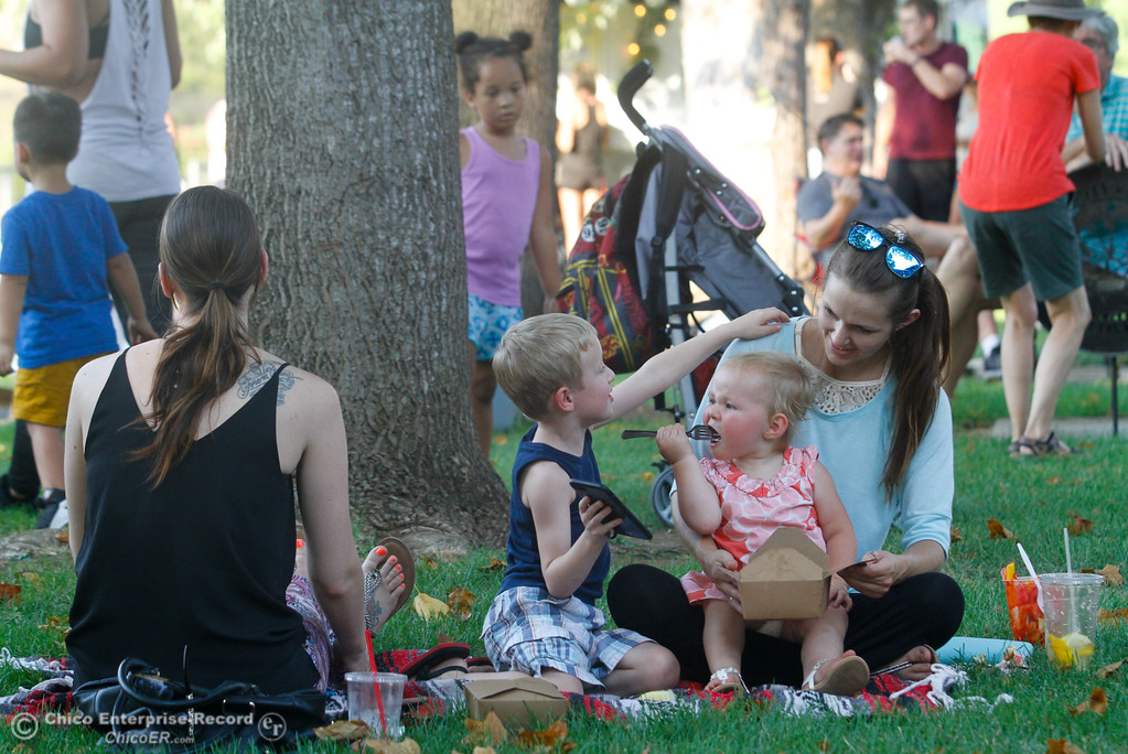 . Kailee Bowers, 1, takes a bit into some bacon mac and cheese from the Truck a Roni food truck as Haiden Carter tries to get Kimber Sparhawk\'s attention during the Fork in the Road food truck rally Wednesday August 2, 2017 in Chico, California. (Emily Bertolino -- Enterprise- Record)