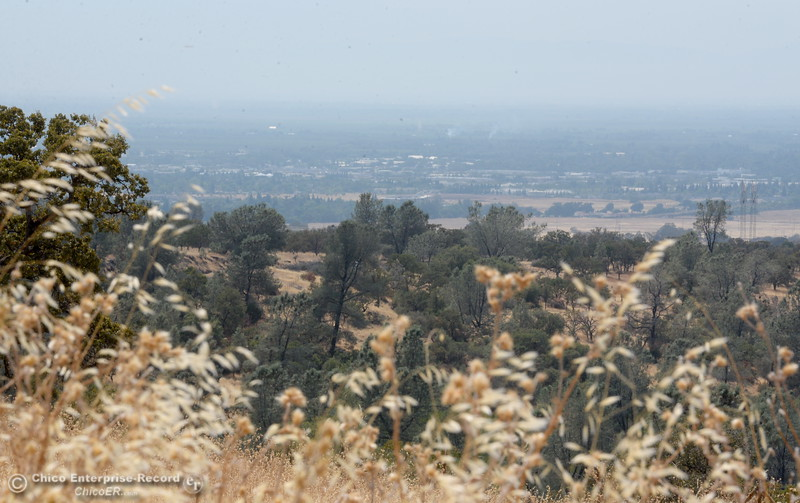 Reduced visibility and poor air quality are seen as hazy skies hang over Chico Calif. seen from Humboldt Road above Chico, Calif. Fri. Aug. 4, 2017. (Bill Husa -- Enterprise-Record)