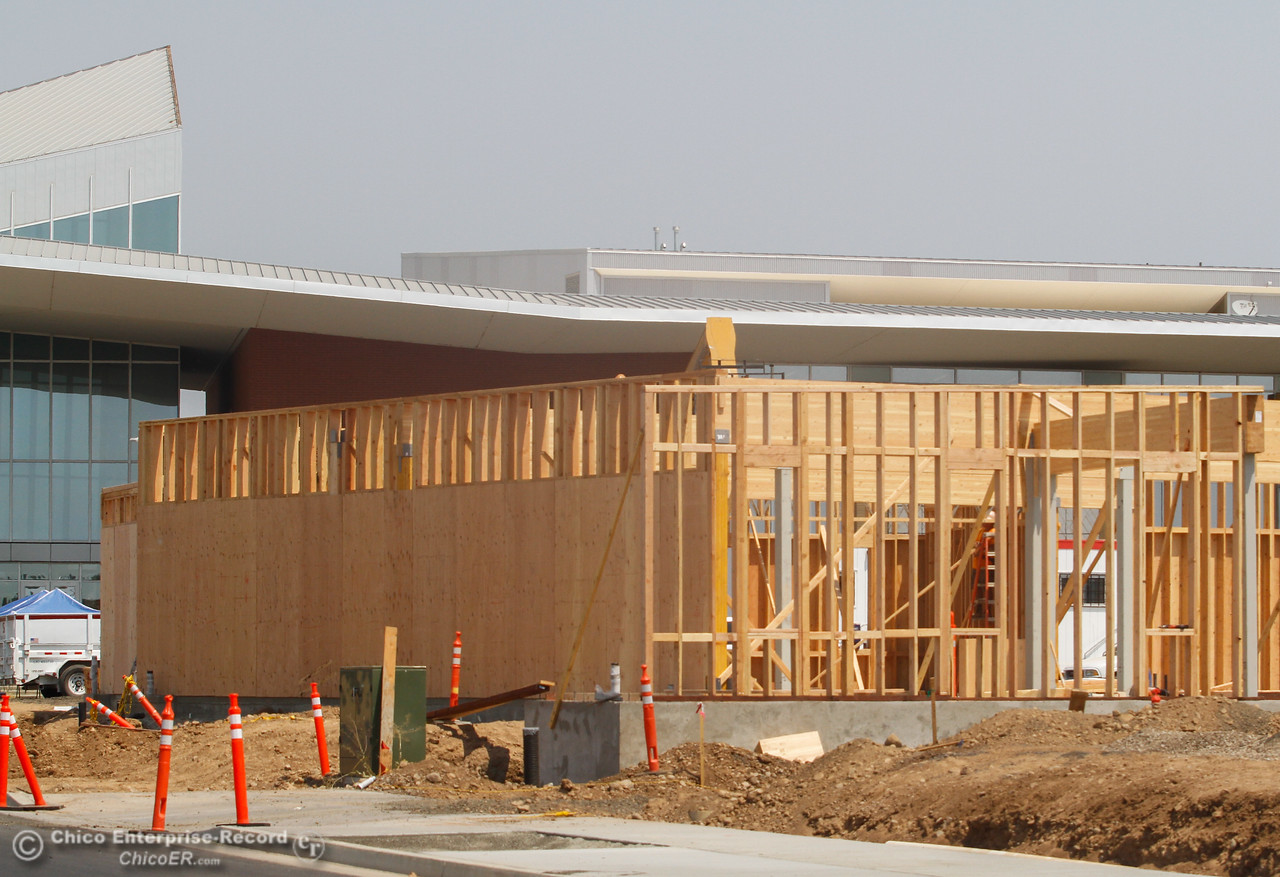 Work is progressing on the Foundation building office space, south of the courthouse as part of the Meriam Park project  Tuesday August 1, 2017 along Bruce Road in Chico, California. (Emily Bertolino -- Enterprise- Record)