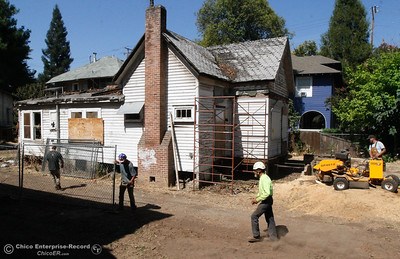 Preparation begins to move the historical gothic revival cottage on  West Fifth Street to it's new home on Humboldt Avenue August 4, 2016 in Chico, Calif. (Emily Bertolino -- Enterprise-Record)