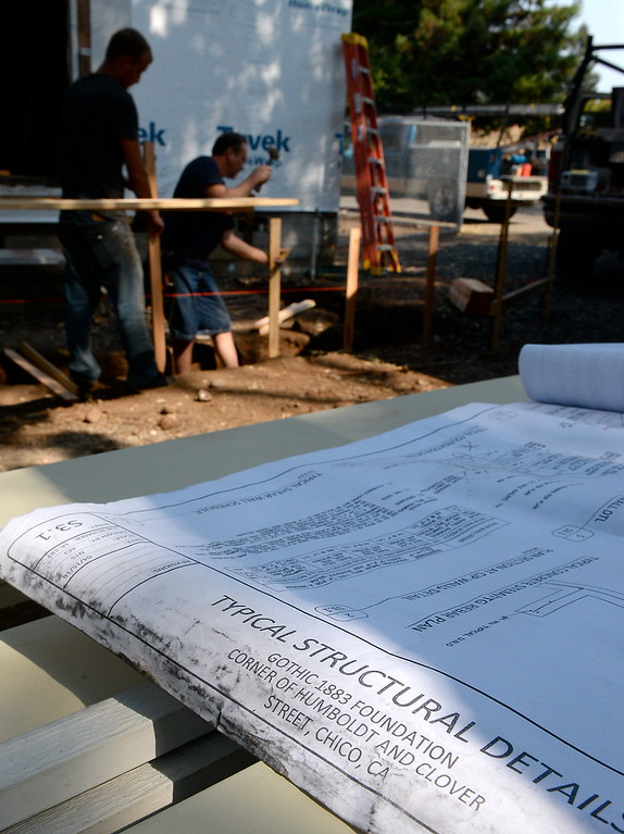 . Blueprints for the structural details for the Gothic 1883 Foundation are seen on the jobsite as work is underway on the old Gothic house in it\'s new location in Chico, Calif. Tues. Sept. 5, 2017. (Bill Husa -- Enterprise-Record)