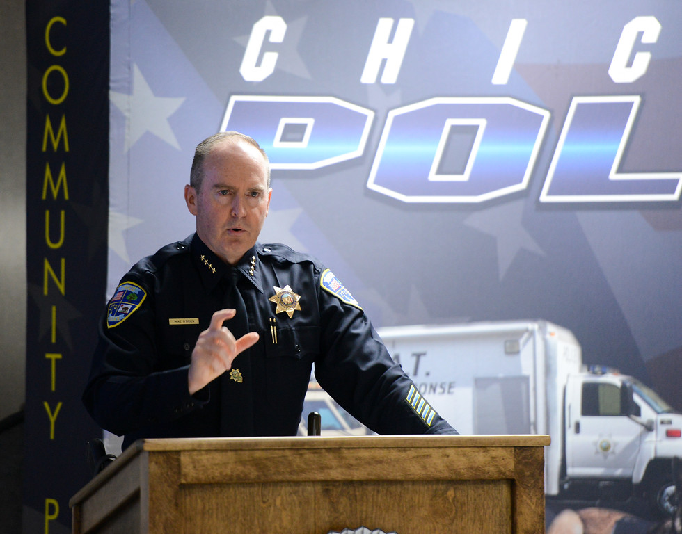 . Chico Police Chief Mike O\'Brien leads a community policing conference where he names the employee of the month officer Cedric Schwyzer and talks about the problem oriented policing initiative Friday September 8, 2017  in Chico, California. (Emily Bertolino -- Enterprise-Record)