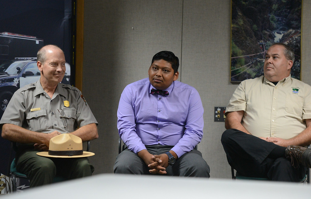 . Lassen Volcanic National Park superintendent James Richardson, Chico Parks department employee Steven Huerta and Chico Park Services Coordinator Shane Romain at a conference lead by Chico Police Chief Mike O\'Brien Friday September 8, 2017  in Chico, California. (Emily Bertolino -- Enterprise-Record)