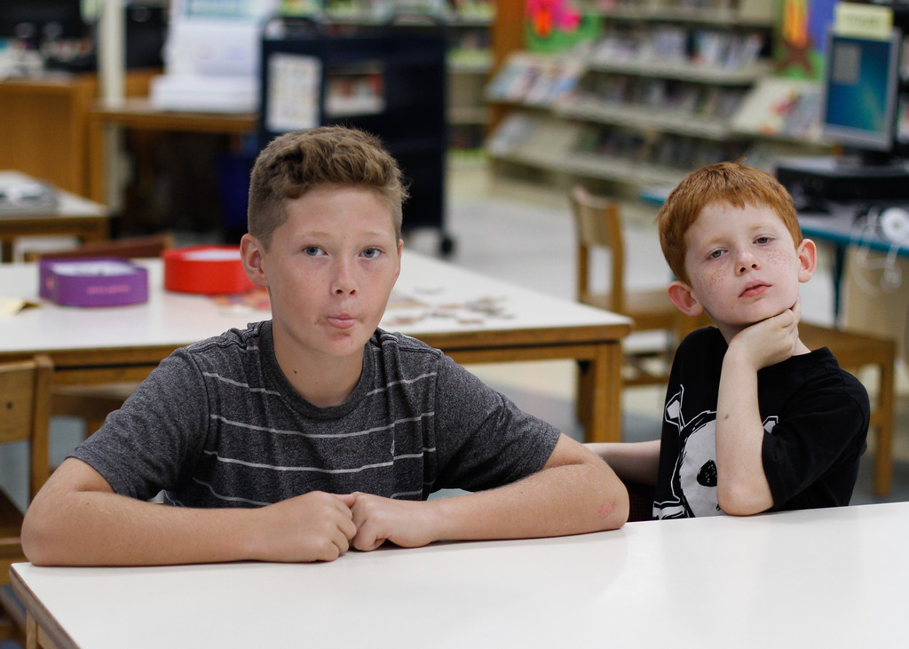". Chico boys,  Malachi Miller and Ayden Rose, made up jokes that have been featured in ""Little Book, Big Laughs\"" published by United Health Care Children\'s Foundation Thursday September 7, 2017 at the Chico library in Chico, California. (Emily Bertolino -- Enterprise-Record)"