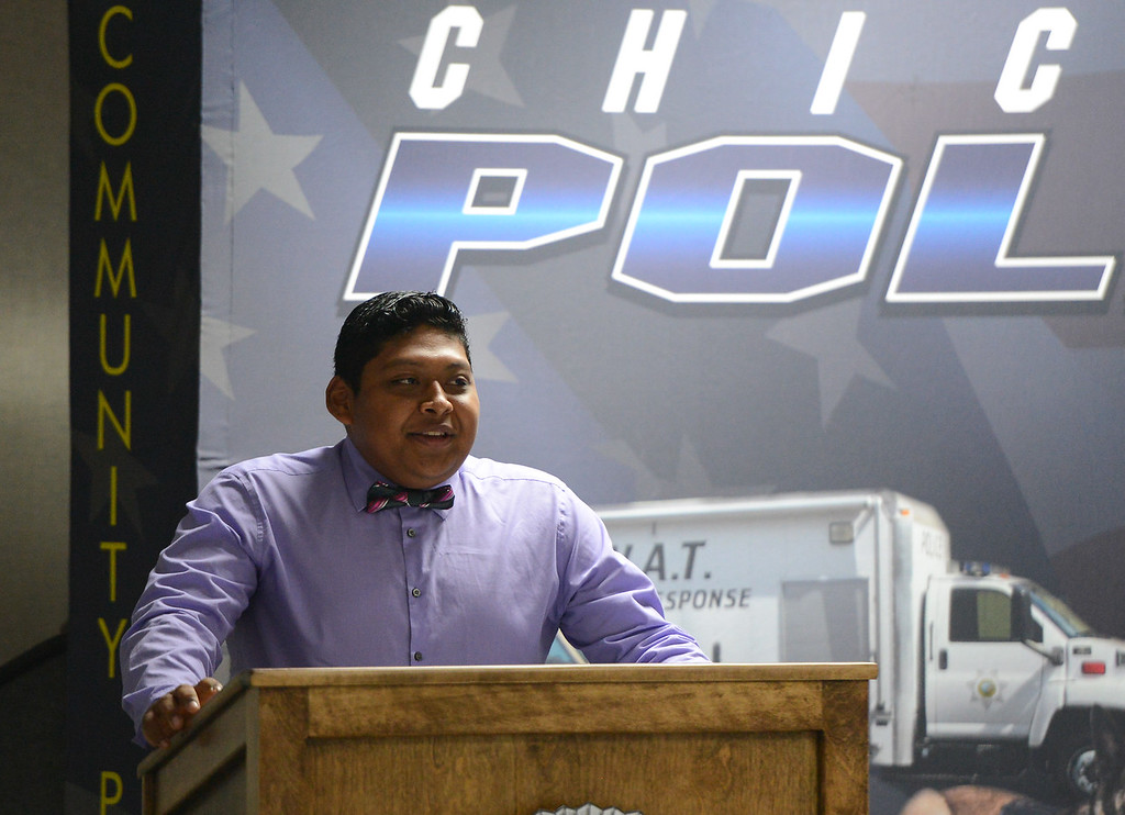. Steven Huerta, a young man whose life changed for the better when meeting Chico police officer Cedric Schwyzer who recognized Huerta was involved in gang activity and needed a positive male role model Friday September 8, 2017  in Chico, California. (Emily Bertolino -- Enterprise-Record)