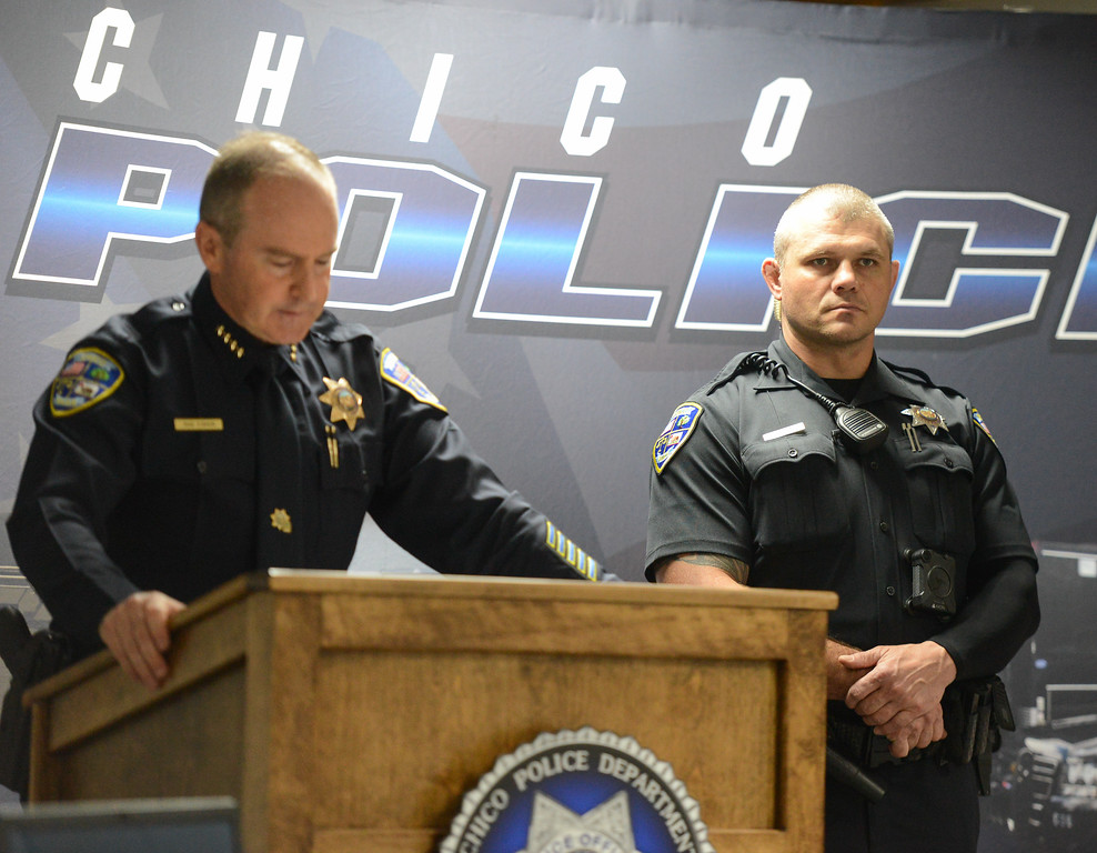 ". Chico Police Chief Mike O\'Brien names officer Cedric Schwyzer, right, employee of the month after Schwyzer\'s attempt at ""problem oriented policing\"" helped a young man turn away from gang activity towards a more positive future Friday September 8, 2017  in Chico, California. (Emily Bertolino -- Enterprise-Record)"