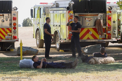 Firefighters working to extinguish the Saddle Fire rest in preparation for their next 24-hour shift September 7, 2016 at the , Calif. (Emily Bertolino -- Enterprise-Record)