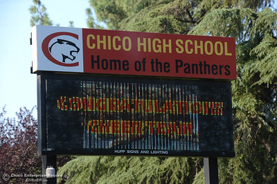 Chico High, along with Citris and Chico Junior High schools, were put on lockdown Tuesday, Sept. 6, 2016, as police searched the area following a report of a man with a gun in the area in Chico, California. The investigation into the incident led police to suspect the report may have been unfounded. (Dan Reidel -- Enterprise-Record)