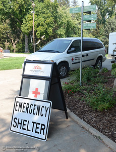 The Red Cross disaster relief emergency shelter Tuesday, Sept. 6, 2016, at Neighborhood Church on the 2800 block of Notre Dame Boulevard in  Chico, California, had taken in 21 people who were evacuated from the are of the Saddle Fire. (Dan Reidel -- Enterprise-Record)