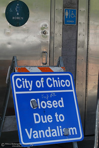 The City of Chico has closed the bathrooms at Ringel Park between the Esplanade and West 1st Street due to vandalism indefinitely September 13, 2016 in downtown Chico Calif. (Emily Bertolino -- Enterprise-Record)