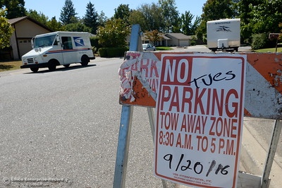 Signs posted along Morseman Ave. near Marcia Court warn residents of road closures for slurry seal work in the neighborhood Friday Sept. 16, 2016. The asphalt maintenance project is scheduled to be completed by Oct. 14th. (Bill Husa -- Enterprise-Record)