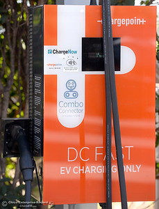 A DC FAST EV Charging Only station is seen at an electric vehicle charging station at Sierra Nevada Brewery in Chico, Calif. Thursday Sept. 15, 2016. (Bill Husa -- Enterprise-Record)