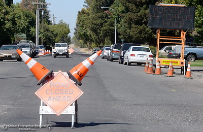 Signs posted along Morseman Ave. warn residents of road closures for slurry seal work in the neighborhood Friday Sept. 16, 2016. The asphalt maintenance project is scheduled to be completed by Oct. 14th. (Bill Husa -- Enterprise-Record)